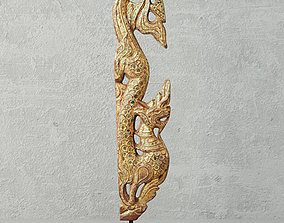 Gilded Wood Carving in the Form of Naga 3D