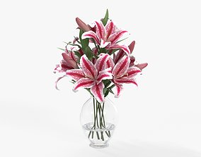 Lily bouquet in a glass vase 3D