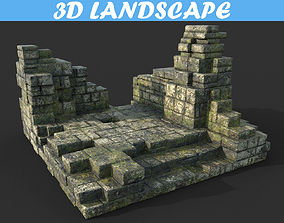 Low poly Mossy Ruin Temple Wall 01 181119 3D model