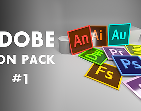 3D model Adobe Icon and Logo pack 01
