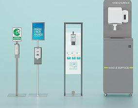 Sanitizer Stand Set 3D model