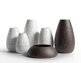 white Porcelain Vases 4 3D model