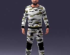 3D model Man in camouflage 1203