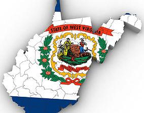 3D West Virginia Political Map