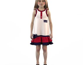 Girl dress t shirt skirt Baby clothes doll 3D model