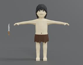 Low Poly Cartoon Tarzan 3D asset