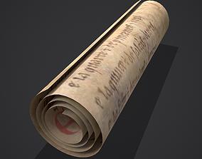 Scroll of Chanson de Roland 3D asset