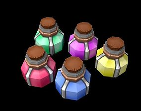 Low poly potions for games 3D model