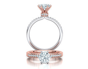 Engagement ring 1CT stone Solitaire ring 3dmodel