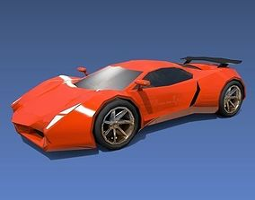 Lowpoly sports car concept 3D asset