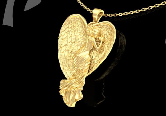 Angel Sleeping Pendant Jewelry Gold 3D print model