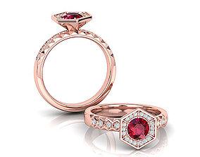 Hexagon Engagement Diamond ring printable 3d