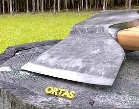 3D model ORTAS AXE NO 3 HARD STEEL REALISTIC FOREST AXE