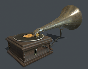 Old gramophone PBR 3D asset