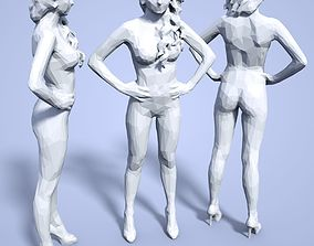 pretty 3D printable model Girl Low poly Sculpture