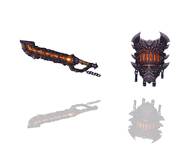 Hell - Sword and Shield 3D asset
