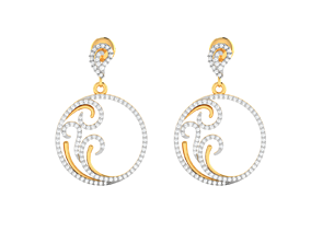silver sterling Women earrings 3dm render detail