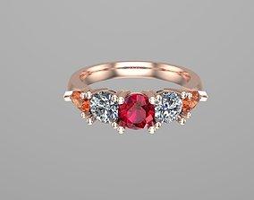 3D printable model Five stones diamond ring NN131