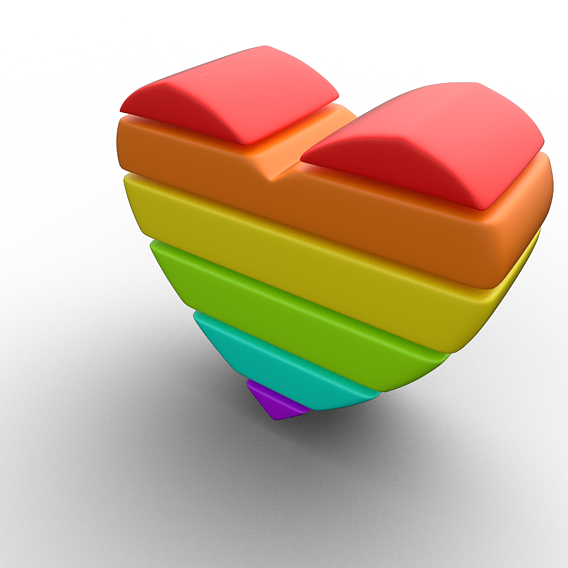 Rainbow Heart Minimal 80s Rows 3D model