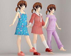 Keiko anime girl pose 2 3D model