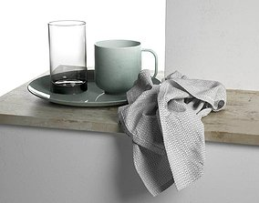 Plate with Cups and Towel 3D