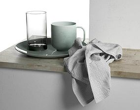 3D model Plate with Cups and Towel table