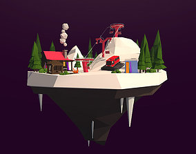 3D asset Cartoon Low Poly Slope Resort Island Pack