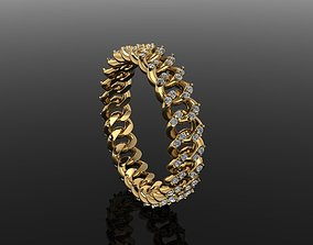 3D print model Cuban Link Diamond Band Ring SIZE 6