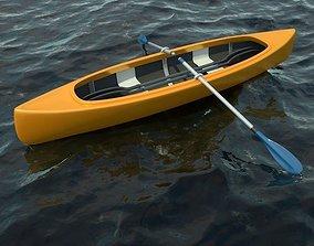 Canoe Boat with 2 Types of Oars 3D model