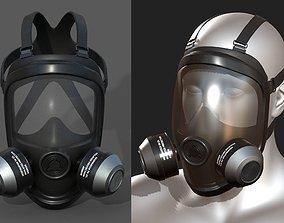 Gas mask helmet 3d model military combat low VR / AR ready
