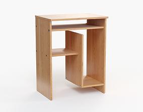 Computer Desk wood 3D model realtime