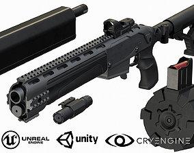 3D model VR / AR ready Tactical semi-auto shotgun