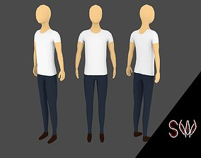 Low-poly Man 3D model animated