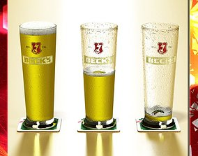 Becks Beer Glass Pint 3D