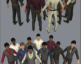 3D asset Male Business Characters LowPoly