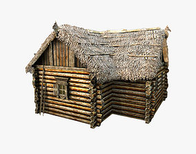 3D model Wooden Thatch House T-Shaped