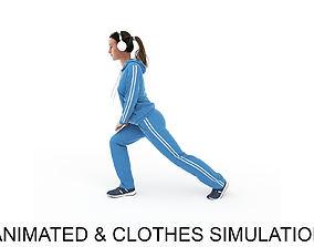 3D model Sports woman warm-up 2