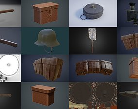 WW1 german infantry equipment game-ready assets 3D