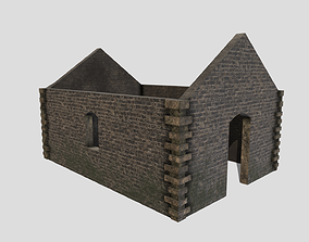 3D asset VR / AR ready Ruined Building
