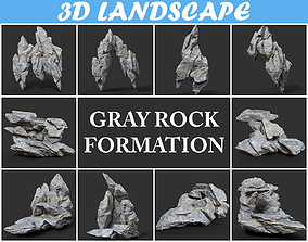 3D model Low poly Gray Rock Formation Pack B-190416