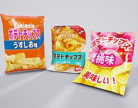 Japanese Chips - 15 unique variants 3D asset