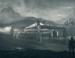 c4d octane Outer space science fiction scene 3D model 2
