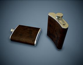 3D asset Leather Pocket Bottle PBR Game Ready