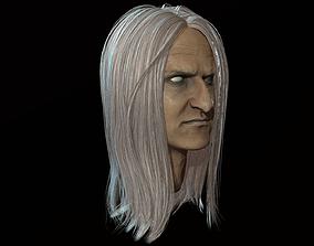 3D asset Hair Long Low poly