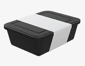 3D Plastic food container tray box with label mockup 06