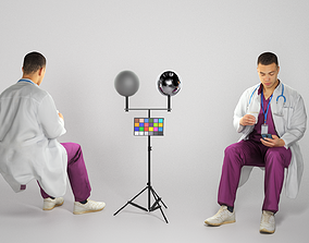 3D model Medical doctor male is sitting and texting a 1