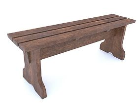 Wooden Bench 3D asset game-ready PBR