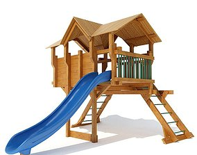 Wooden Outdoor Playground Equipment 3D model