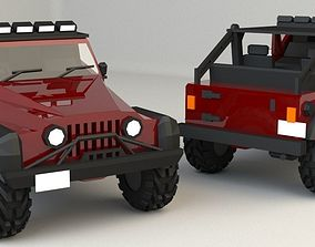 3D model game-ready Low Poly Jeep