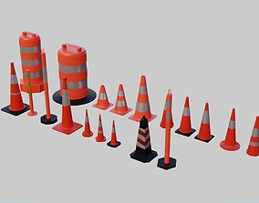 Traffic Cones and Construction barrels 3D asset 4